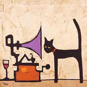 Cat and Gramophone por Colin Ruffell