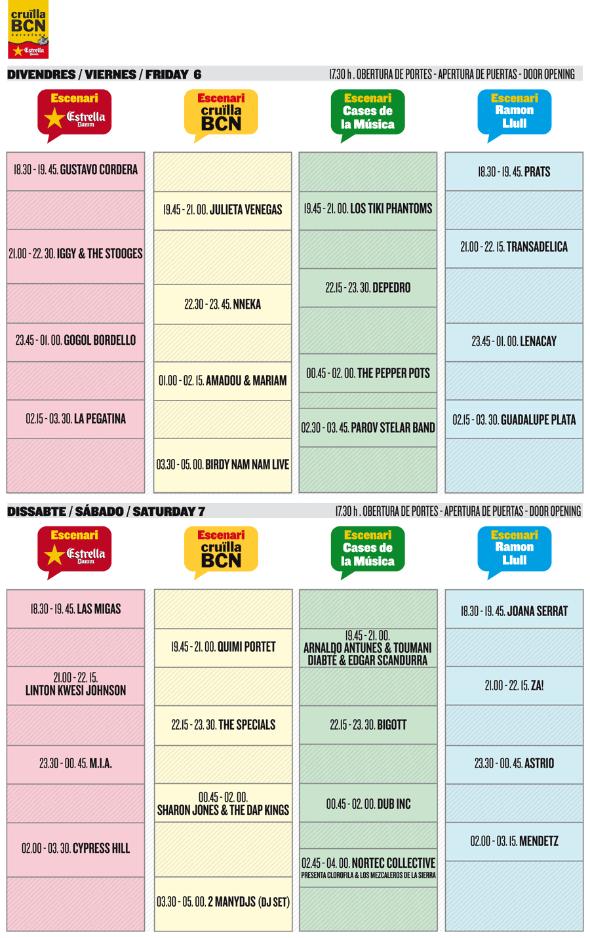 Cru lla barcelona 2012 horarios for Horario oficina ing barcelona