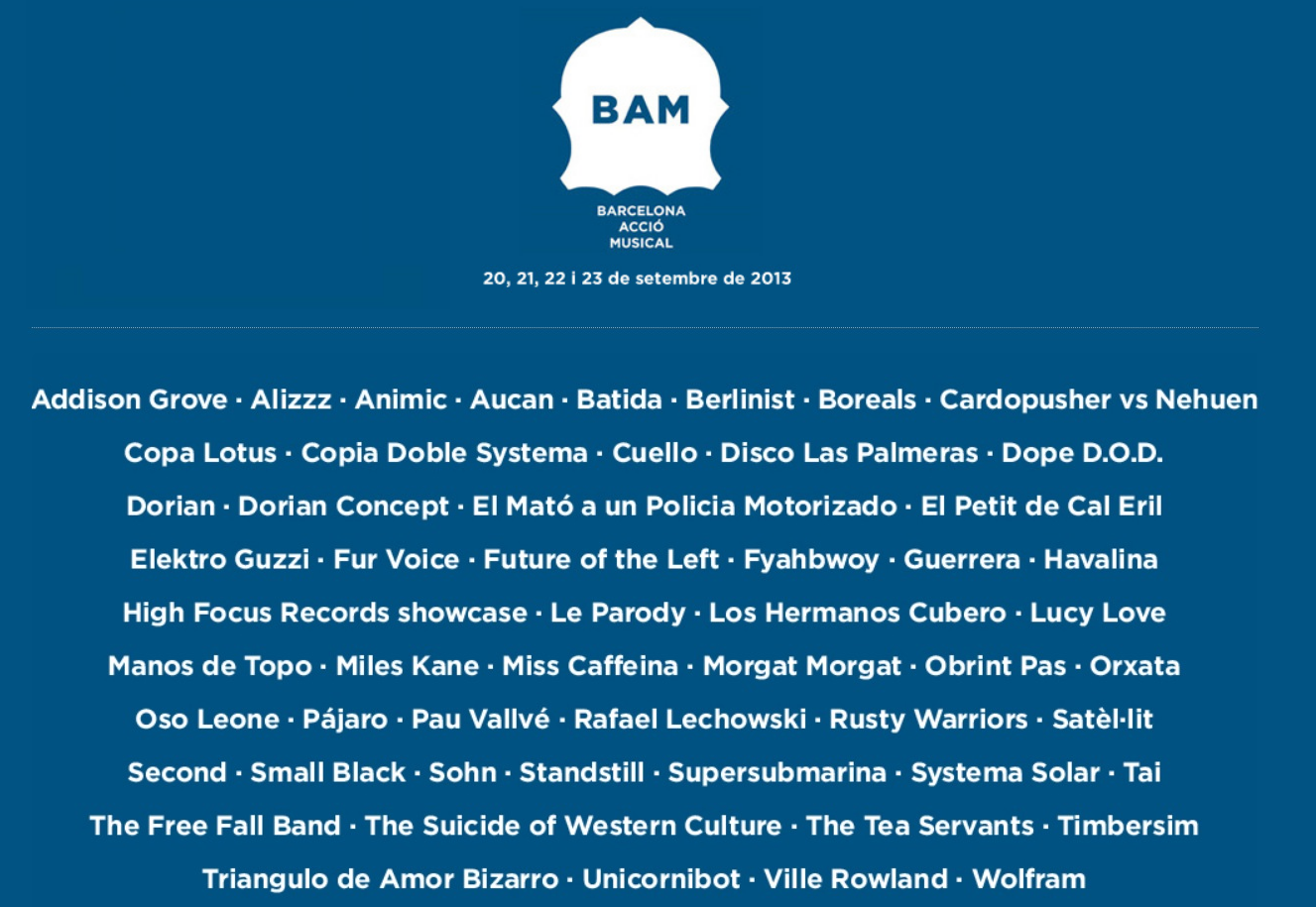 Photo of Cartel completo y horarios del BAM 2013