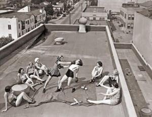 Women boxing on a roof, ca. 1930s