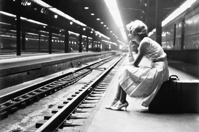 Teenage Girl Waiting for Train, Chicago, Illinois, 1960
