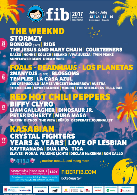 Photo of Cartel provisional por días del FIB 2017